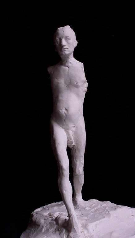 Walking Man, plaster, 45 cm height, 2005 (photo © Enguerran Ouvray)
