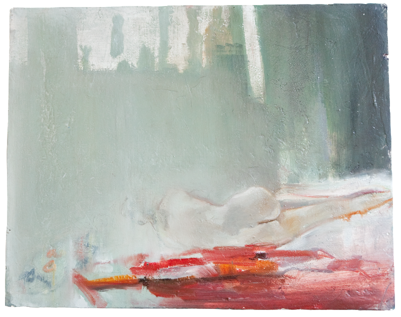 Hanna with a red cloth, oil on plaster, 55×48, 2010