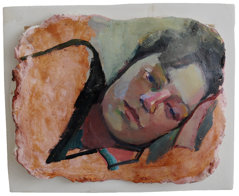Margaux (two), oil on sculpted plaster, 32×28 cm, 2014